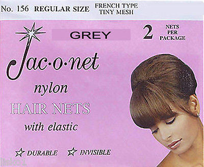 HAIR NET Jac-O-Net  #156  French Style  Invisible Hair Net  w/Elastic (2) pcs.   Grey
