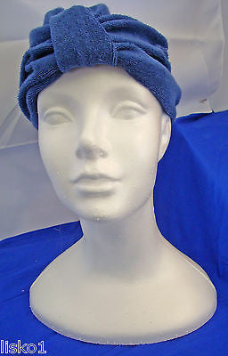 Womens Terry Cloth Turban, Chemotherapy-Cancer Head wrap, Soft, fits all (blue)