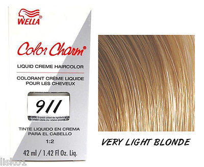 WELLA Color Charm  Liquid Creme Haircolor, 911/9N Very Light Blonde 1.42 oz. LMS