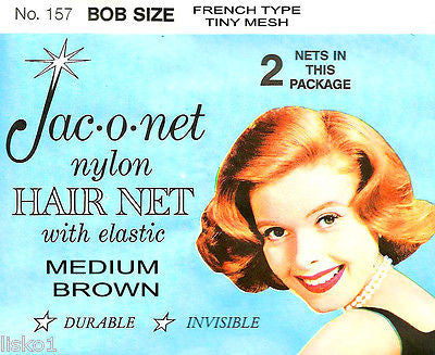 HAIR NET Jac-O-Net  #157  Bob Size French type Hair Net  w/Elastic (2) pcs.  Medium Brown