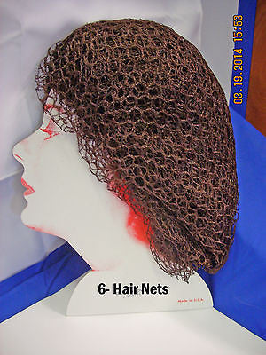 HAIR NET #1062 Nylon Round Elastic Hair net,  Brown - 6 pcs.