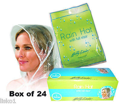 RAIN HATS 24 - Betty Dain #655 Rain Hat's with full pull out visor, Clear vinyl     LMS