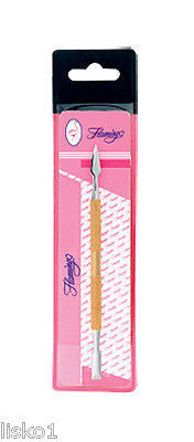CUTICLE PUSHER Flamingo #I5440 Gold Cuticle Pusher, 2-sided tool               LMS