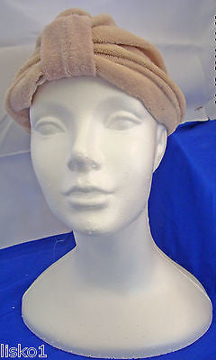 Womens Terry Cloth Turban, Chemotherapy-Cancer Head wrap, Soft,  fits all  (tan)