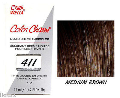 WELLA Color Charm  Liquid Creme Haircolor,  411/4N Medium Brown 1.42 oz.  LMS