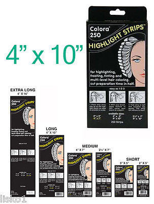 HIGHLIGHT FOIL COLORA HAIR COLORING HIGHLIGHT-TINTING  STRIPS 4 X 10     1-Pack of 250