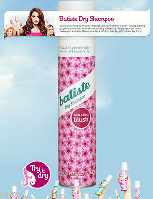 DRY SHAMPOO BATISTE (BLUSH) Dry Shampoo, Instant hair Refresher for all hair types,  6.7 oz.
