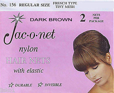 HAIR NET Jac-O-Net  #156  French Style  Invisible Hair Net  w/Elastic (2) pcs. Dark Brown