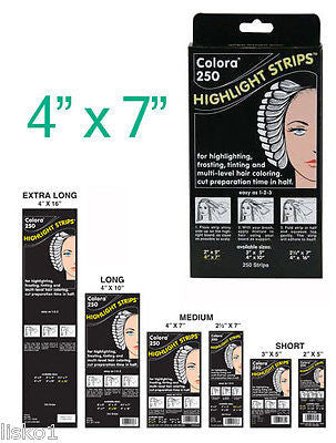HIGHLIGHT FOIL COLORA HAIR COLORING HIGHLIGHT-TINTING  STRIPS 4 X 7     1-Pack of 250
