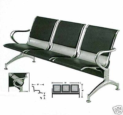 YANAKI #YA3602 SALON/ BARBER AIRPORT STYLE WAITING ROOM BENCH 3-SEAT,ALL METAL