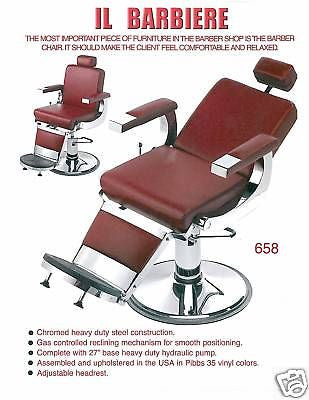 NEW  PIBBS #658  BARBIERE BARBER CHAIR, AMERICAN MADE , W/HEADREST