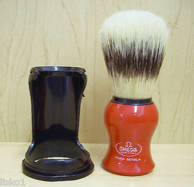 SHAVE BRUSH #SB-550 RED NATURAL BRISTLE SHAVING  MUG BRUSH WITH STAND