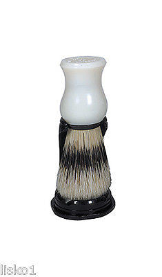 SHAVE BRUSH #SB-550  WHITE NATURAL BRISTLE SHAVING  MUG BRUSH WITH STAND