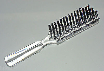 "HAIR BRUSH  DIANE #9401 _ 8"" LONG  HARD LUCITE ""EVERY DAY HAIR BRUSH"" NYLON BRISTLE (CLEAR)"