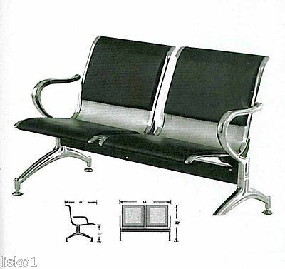 YANAKI  #YA3601 SALON /BARBER AIRPORT STYLE WAITING ROOM BENCH 2-SEAT,ALL METAL