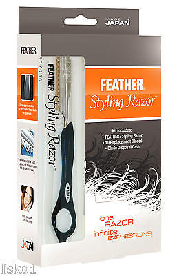 JATAI #F1-80-200  DETAIL FEATHER HAIR STYLING RAZOR KIT W/10 BLADES  & DISP CASE