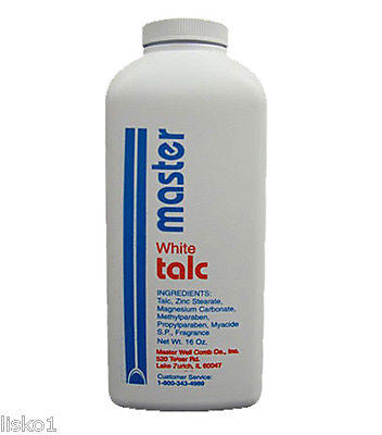 MASTER WELL COMB   AFTER BATH/SHOWER/SHAVE   WHITE TALC POWDER  16 OZ.