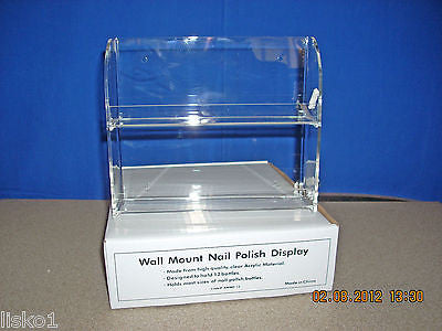 "NAIL POLISH BOTTLE HOLDER 12-BOTTLE ACRYLIC Nail Polish Display Rack , 2- SHELVE WALL MOUNT  8""X7"""