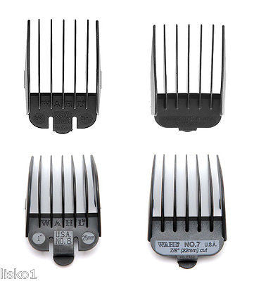 WAHL #5_#6_#7_#8 PLASTIC 4-PK CLIPPER GUIDE ATTACHMENTS
