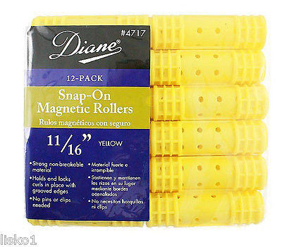 "HAIR ROLLERS DIANE #4717  YELLOW  SNAP-ON MAGNETIC  11/16"" HAIR ROLLER   (12-PER PACK)"