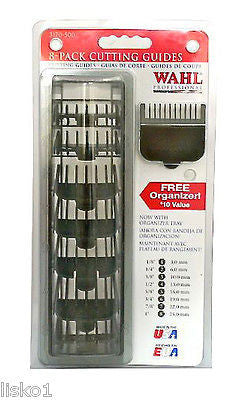 WAHL 8-PACK  BLACK PLASTIC  CLIPPER COMB ATTACHMENTS, #1-#2-#3-#4-#5-#6-#7-#8