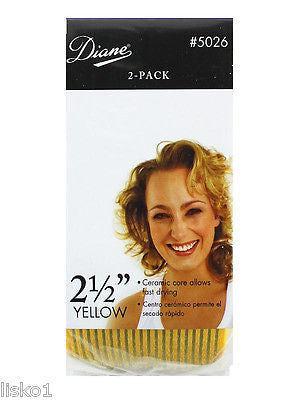 "HAIR ROLLERS DIANE #5026 2-1/2"" YELLOW  SELF GRIP IONIC CERAMIC ROLLER"