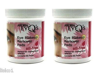 MAKE UP REMOVER ANDREA EYE-Q's_ OIL FREE MAKE UP REMOVER   PADS_  2 JARS_ 65 PADS  PER JAR