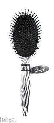 HAIR BRUSH DIANE #9052  ZEBRA OVAL HAIR BRUSH,   BALL TIP NYLON BRISTLE