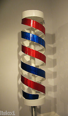 "BARBER POLE~ALUMINUM SCULPTURE~ FREE STANDING 6' 5"" TALL~UNIQUE~SIGNED BY ARTIST"