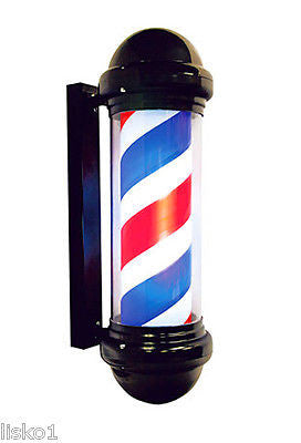 "BARBER POLE BLACK  FRAME  BARBER POLE 29"" TALL, INNER CYLINDER SPINS AND ALSO LIGHTS UP"