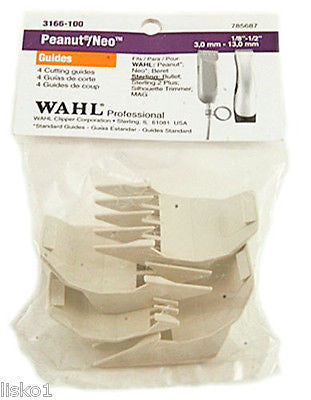 WAHL #3166 PEANUT 4-PACK PLASTIC CLIPPER GUIDE ATTACHMENTS  (WHITE)