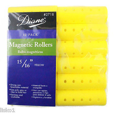 "HAIR ROLLERS DIANE #2718 YELLOW MAGNETIC 15/16"" HAIR ROLLER   (12-PER PACK)"