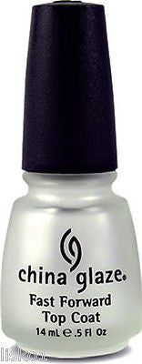 NAIL POLISH CHINA GLAZE FAST FORWARD TOP COAT  DRY FAST TOP COAT DRIES IN SECONDS   .5 OZ.