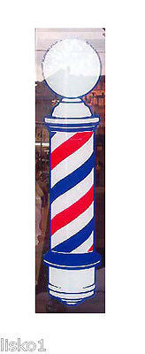 "BARBER POLE DECAL BARBER'S 22"" TRADITIONAL, ADVERTISNG POLE VINYL DECAL ,STATIC CLING TO GLASS"