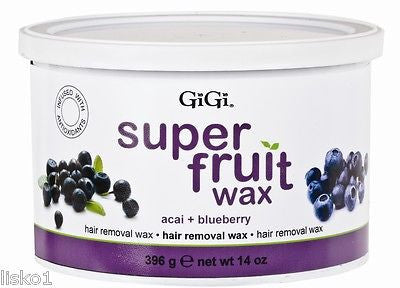 GIGI #0356  SUPER FRUIT HAIR REMOVAL  WAX  ( ACAI & BLUEBERRY )  1_ 14 OZ. CAN