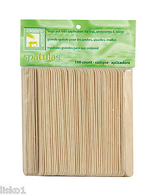 WAXING APPLICATOR STICKS CLEAN + EASY #41101 LARGE WOOD APPLICATOR STICKS _ 100 PER BAG