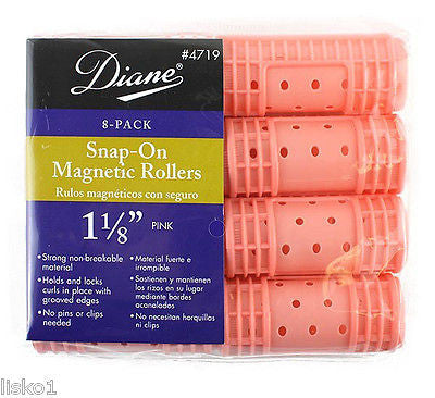 "HAIR ROLLERS DIANE #4719  PINK  SNAP-ON  MAGNETIC  1-1/8"" HAIR ROLLER   (8-PER PACK)"