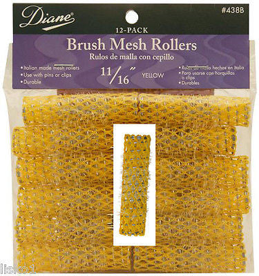 "HAIR ROLLERS DIANE #438B 11/16"" YELLOW ITALIAN MADE BRUSH ROLLER"