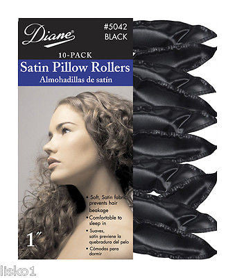 "HAIR ROLLERS DIANE #5042 SATIN SOFT BLACK  1""_ PILLOW  HAIR ROLLERS,10-PK"