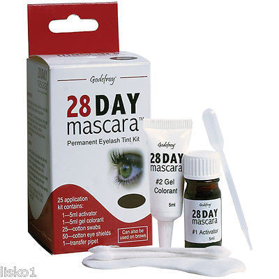 28 DAY MASCARA PERMANENT EYELASH TINT KIT COLOR BLACK 25 APPLICATIONS