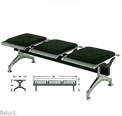YANAKI #YA3604 SALON / BARBER AIRPORT STYLE WAITING ROOM BENCH 3-SEAT,ALL METAL