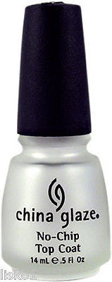 NAIL POLISH CHINA GLAZE NO-CHIP TOP COAT, PREVENTS LAQUER FROM CHIPPING   .5 OZ.