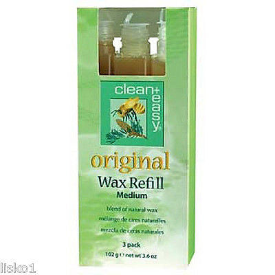 WAX CLEAN + EASY ORIGINAL WAX REFILL MEDIUM FOR WAX ROLLER HAIR REMOVAL 3 PACK