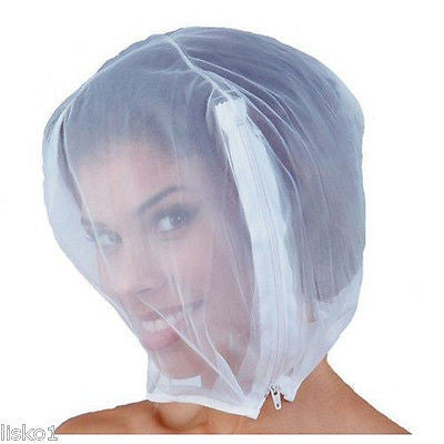 HAIR & FACE PROTECTOR BETTY DAIN #138EX HAIR & FACE PROTECTOR HOOD,CHIFFON W/ ZIPPER CLOSURE