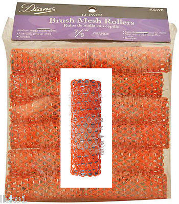 "HAIR ROLLERS DIANE #439B  7/8"" ORANGE  HAIR BRUSH HAIR ROLLERS 12-PACK"