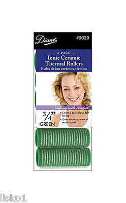 "HAIR ROLLERS DIANE #5020 3/4"" GREEN SELF GRIP IONIC CERAMIC ROLLER"