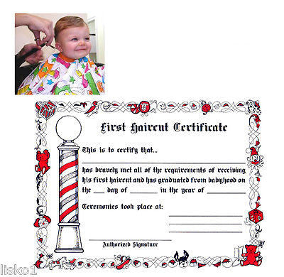"FIRST HAIR CUT CERTIFICATE BARBER SHOP KID'S  ""FIRST HAIRCUT"" OFFICIAL  PAPER CERTIFICATE  (1-PACK OF 12)"