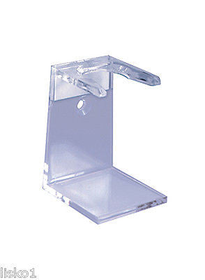 KINGSLEY #SB-72  CLEAR ACRYLIC MEN'S SHAVING  BRUSH  STAND, CAN MOUNT TO WALL