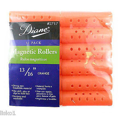 "HAIR ROLLERS DIANE #2717 ORANGE MAGNETIC 13/16"" HAIR ROLLER   (12-PER PACK)"