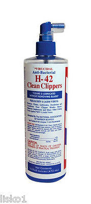 H-42  clean clippers DISFENCTANT SPRAY, ANTI-BACTERIAL, VIRUCIDAl 16 oz spray